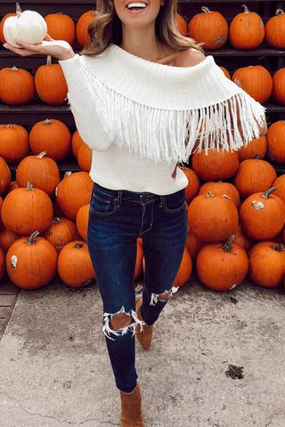 Image of Casual Pure Colour Loose Off-Shoulder Tassel Sweater White s