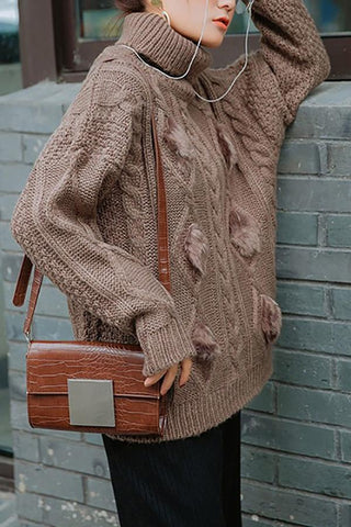Image of Casual Thickening Pure Colour Mohair High Collar Loose Sweater Khaki one size