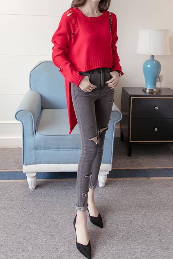 Fashion Round Collar   Holes Irregular Loose Sweater Red one size