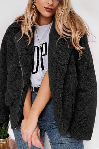 Image of Autumn And Winter   Casual Plush Warm Coats Black s