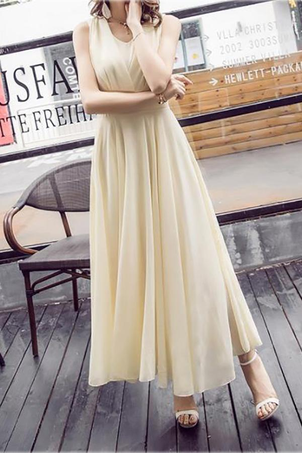 Casual Pure Color   Loose Sleeveless Maxi Dresses Apricot s