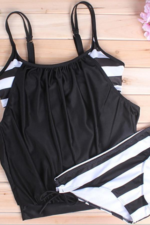 Sexy large size covered belly striped lace swimsuit Black s