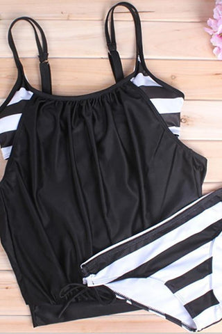 Image of Sexy large size covered belly striped lace swimsuit Black s