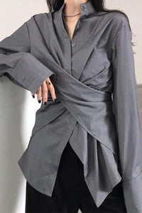 Vintage Pure Colour Stand Collar Slit Irregular Shirt Gray one size