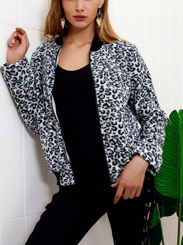 Fashion Zipper Leopard Outwear same_as_photo m