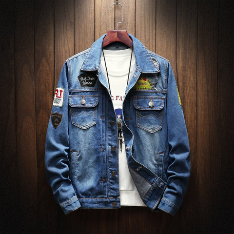 Image of Young Man Fashion Denim Jacket Blue l