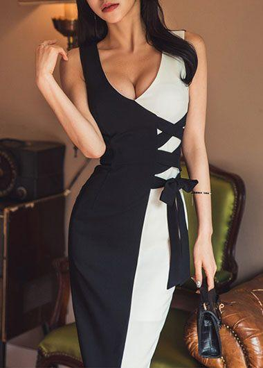 Fashion Sexy V Neck   Sleeveless Show Thin Contrast Color Maxi Dress White Black s