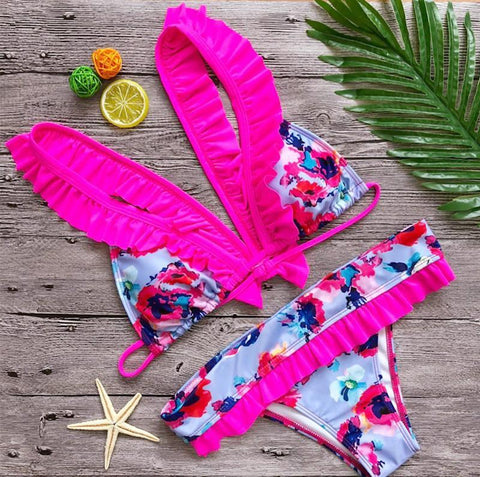 Image of Sexy Print Bikini Bow Tie Split Swimsuit Pink m