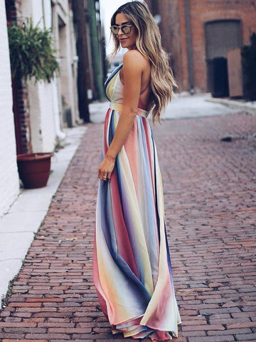 Image of Deep V-neck Backless Gradient Maxi Dress 2XL