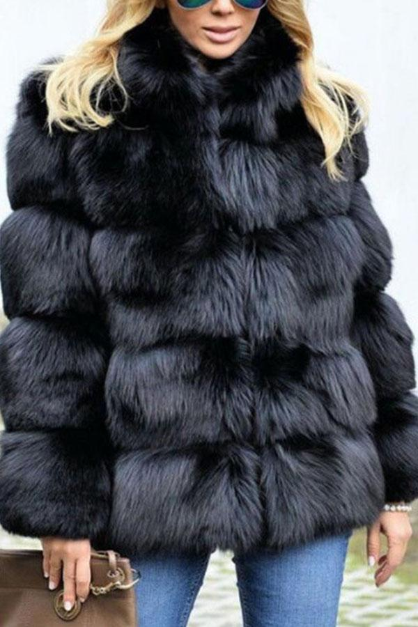 Faux Fur Long Sleeve Fashion Winter Coats Black s