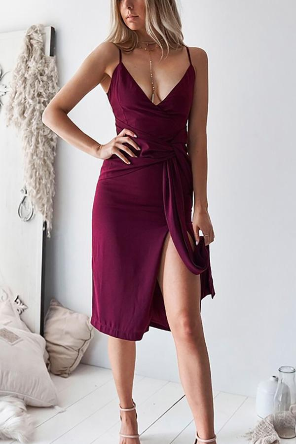 Casual Sexy Deep V   Neck Backless Pure Color Sling  Maxi Dresses Claret s