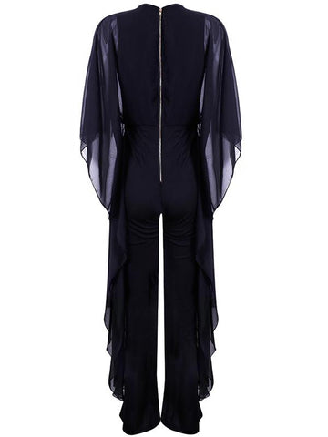 Image of Wide-leg Pants Chiffon Spliced Jumpsuit BLACK L
