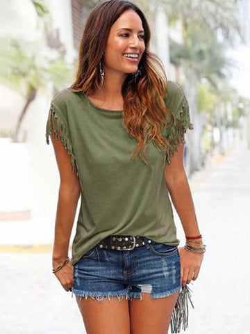 Image of Short-sleeved Round Neck Tassels Cotton T-Shirt 8 Colors KHAKI S