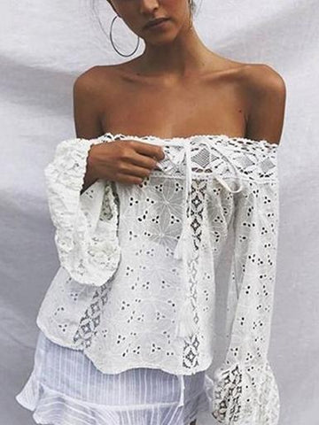 Lace Off Shoulder Flared Sleeves Cover-Ups Tops WHITE M