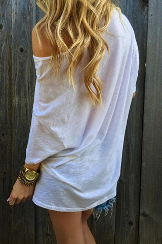 One Shoulder  Plain T-Shirts white xl