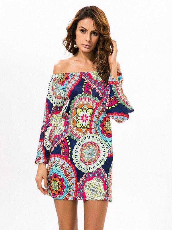 Fashion Floral Bohemia Off Shoulder Long Trumpet Sleeve Bodycon Mini Dress RED M