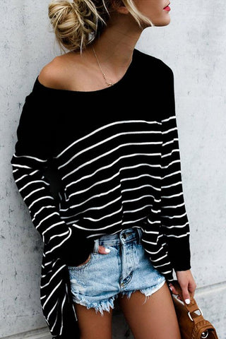 Round Neck  Stripes T-Shirts black l