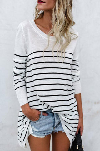 Round Neck  Stripes T-Shirts white s
