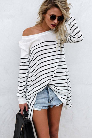 Round Neck  Stripes T-Shirts white m