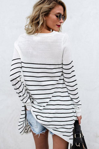 Round Neck  Stripes T-Shirts white l