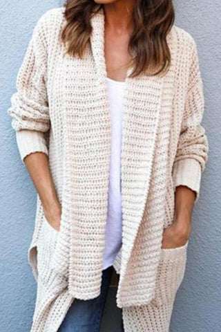 Image of Cowl Neck  Patchwork  Plain  Batwing Sleeve Cardigans