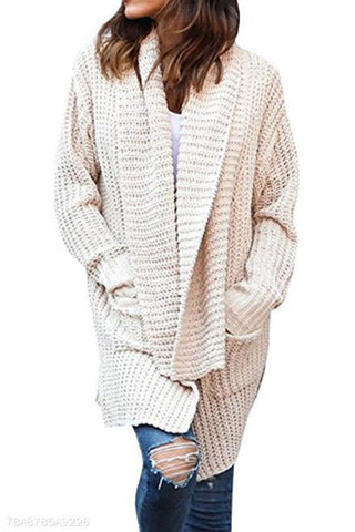 Image of Cowl Neck  Patchwork  Plain  Batwing Sleeve Cardigans apricot l