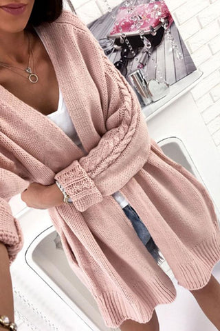 Image of Plain Knit Batwing Sleeve Cardigans pink one size