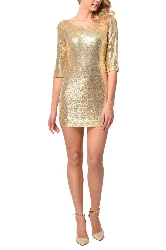 Sexy Slim Sequins Evening Dress gold s