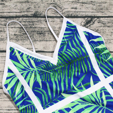 Image of Halter Multi-Pattern Printed One-Piece Swimwear emerald_green l