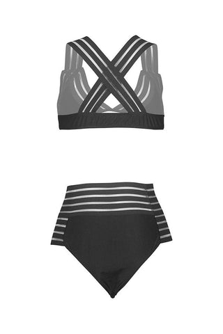Spaghetti Strap  Cross Straps  Striped Bikini black xl