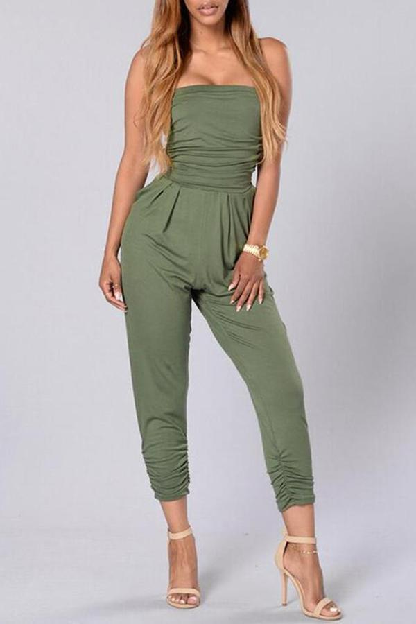 Sexy Off Shoulder Sleeveless Jumpsuit light_green s