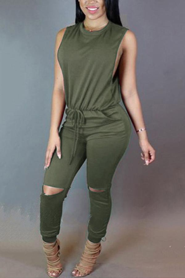 Sexy Solid Color Sleeveless Jumpsuits army_green s