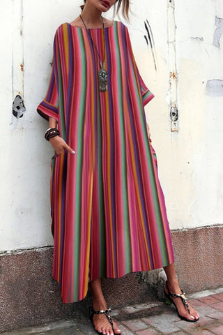 Bohemian Striped  Bell Sleeve Maxi Dresses red s