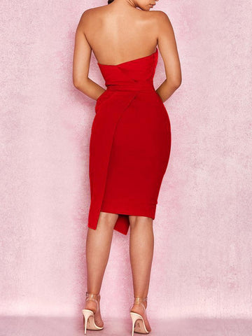 Off Shoulder  Plain Bodycon Dress red l