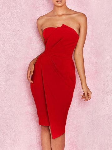 Off Shoulder  Plain Bodycon Dress red m