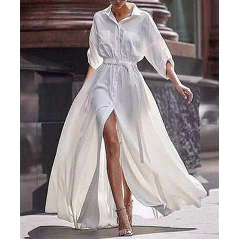 Button Down Collar  Roll Up Sleeve Half Sleeve Maxi Dresses white m