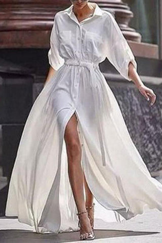 Button Down Collar  Roll Up Sleeve Half Sleeve Maxi Dresses white s