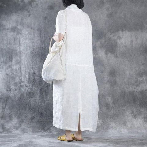 Image of Women Summer Loose Fit Retro Linen Maxi Dress white 2xl
