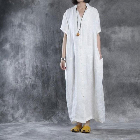 Image of Women Summer Loose Fit Retro Linen Maxi Dress white l