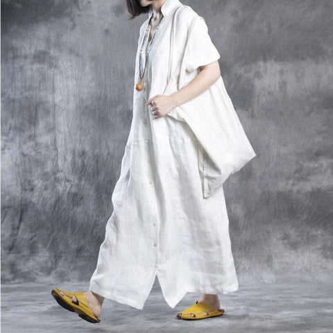 Image of Women Summer Loose Fit Retro Linen Maxi Dress white xl