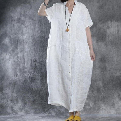 Image of Women Summer Loose Fit Retro Linen Maxi Dress white m