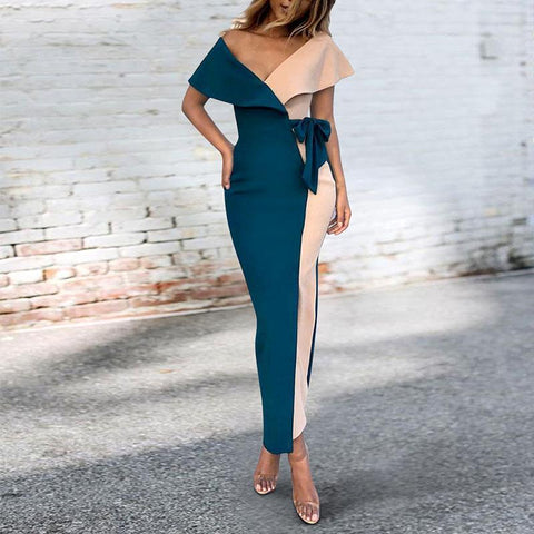 Sexy V-Neck Stitched Fashion Bodycon Dress blue m