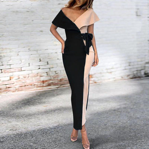 Sexy V-Neck Stitched Fashion Bodycon Dress black xl