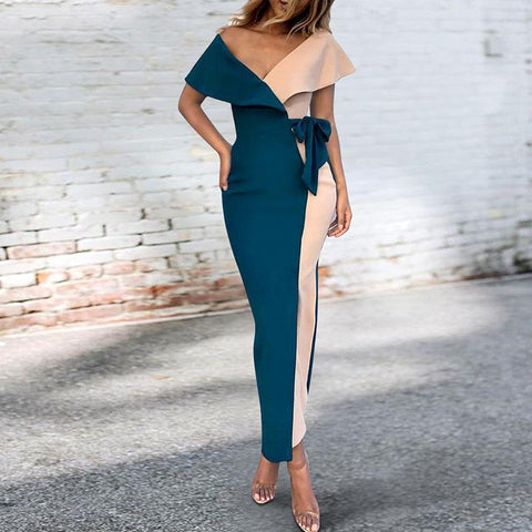 Sexy V-Neck Stitched Fashion Bodycon Dress blue 3xl