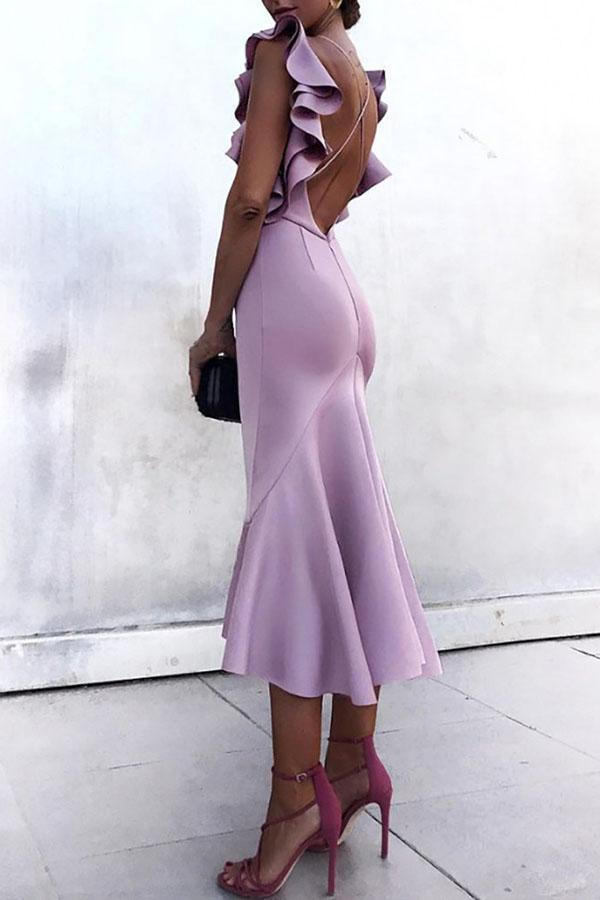 Sexy Backless Plain Maxi Bodycon Dress purple s