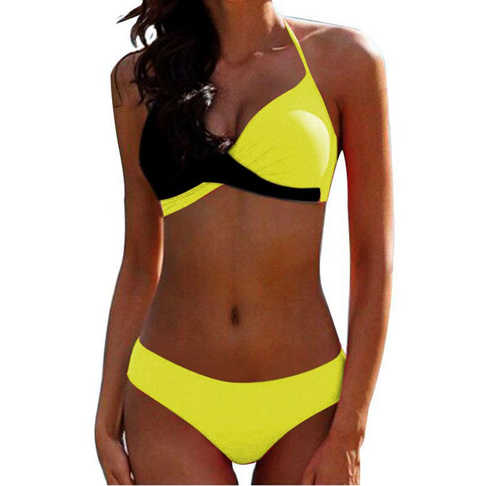 Sexy bikini hard pack color matching split swimsuit Rose 2xl