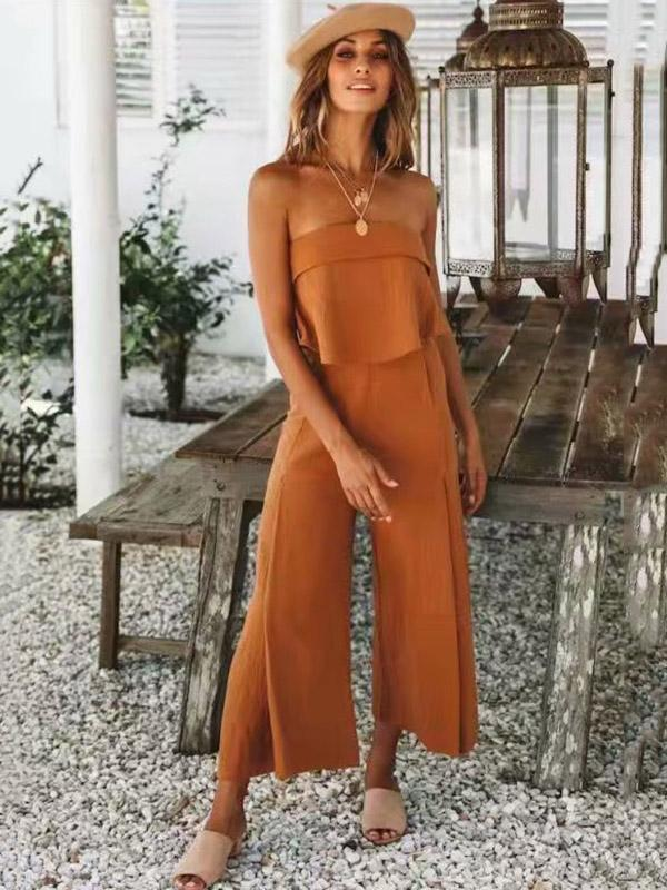 Off Shoulder Solid Falbala Bohemia Jumpsuits