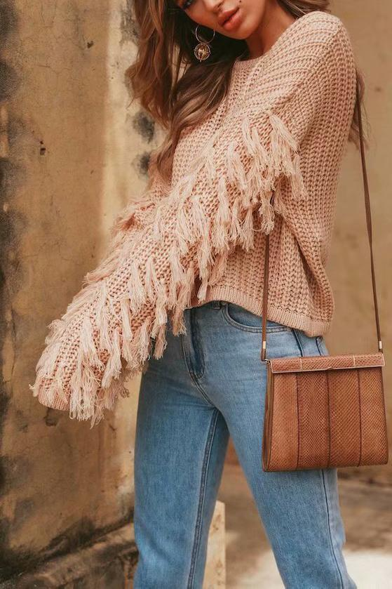 Fashion Loose Plain Fringe Sweater green l