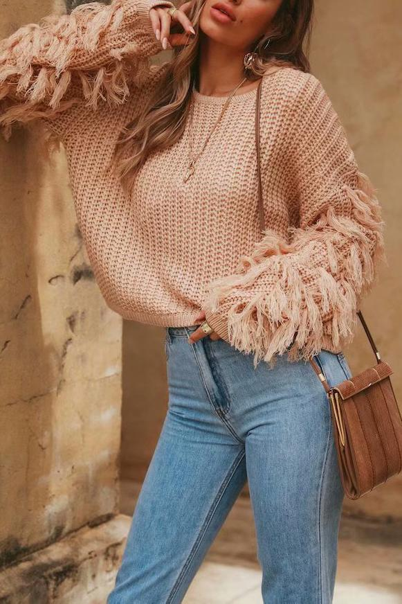 Fashion Loose Plain Fringe Sweater green s