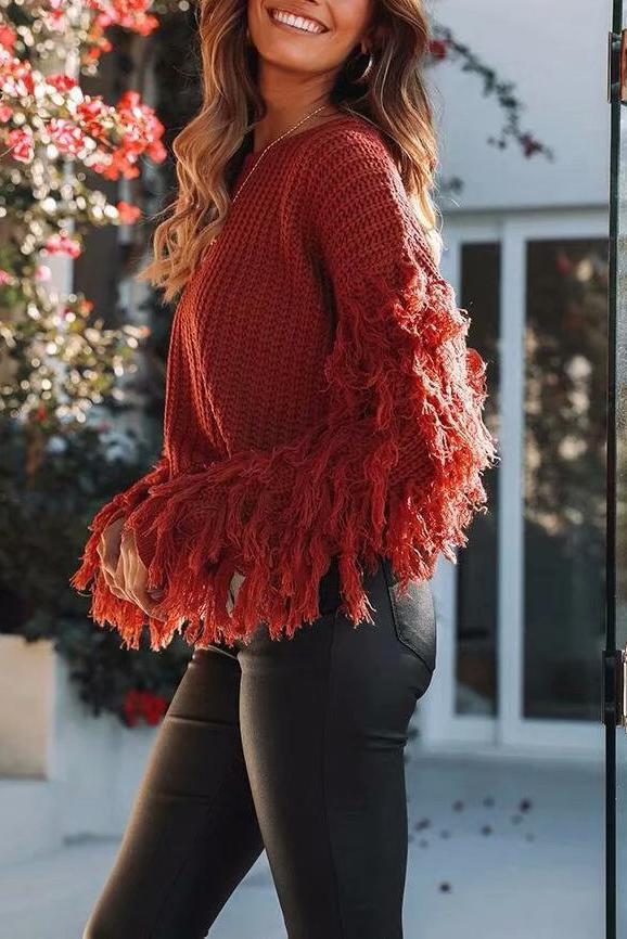 Fashion Loose Plain Fringe Sweater black l